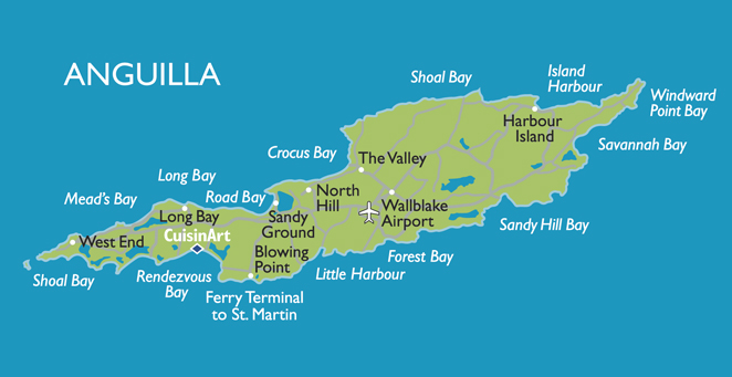 Anguilla Beaches Map Tidal Treasures - Caribbean anguilla map